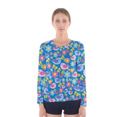 Spring pattern - blue Women s Long Sleeve Tee