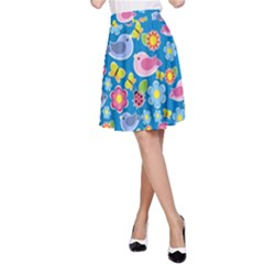 Spring pattern - blue A-Line Skirt