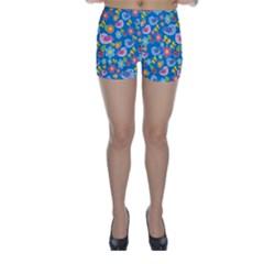 Spring pattern - blue Skinny Shorts