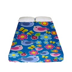 Spring pattern - blue Fitted Sheet (Full/ Double Size)