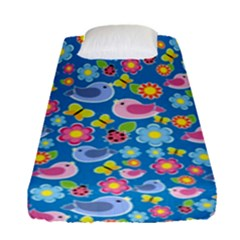 Spring pattern - blue Fitted Sheet (Single Size)