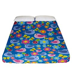 Spring pattern - blue Fitted Sheet (California King Size)