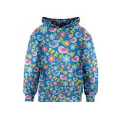 Spring pattern - blue Kids  Pullover Hoodie