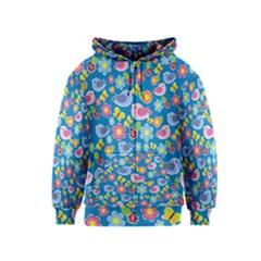 Spring pattern - blue Kids  Zipper Hoodie