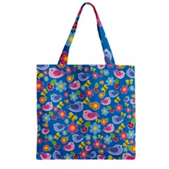 Spring pattern - blue Zipper Grocery Tote Bag