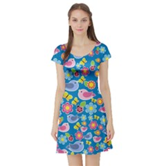 Spring pattern - blue Short Sleeve Skater Dress