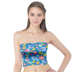 Spring pattern - blue Tube Top