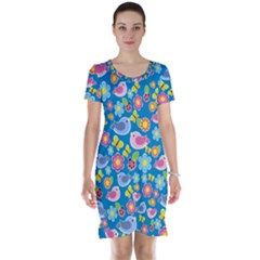 Spring pattern - blue Short Sleeve Nightdress