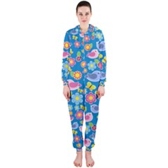 Spring pattern - blue Hooded Jumpsuit (Ladies)