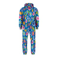 Spring pattern - blue Hooded Jumpsuit (Kids)