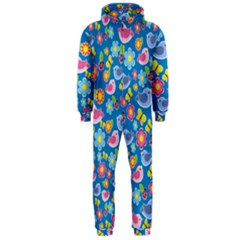 Spring pattern - blue Hooded Jumpsuit (Men)