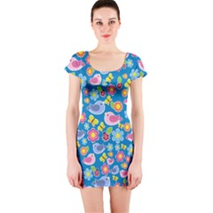 Spring pattern - blue Short Sleeve Bodycon Dress