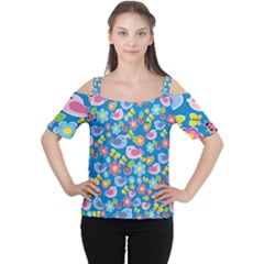 Spring pattern - blue Women s Cutout Shoulder Tee