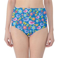 Spring pattern - blue High-Waist Bikini Bottoms
