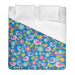 Spring pattern - blue Duvet Cover (Full/ Double Size)