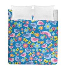 Spring pattern - blue Duvet Cover Double Side (Full/ Double Size)