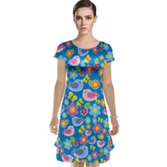Spring pattern - blue Cap Sleeve Nightdress