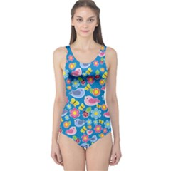 Spring pattern - blue One Piece Swimsuit