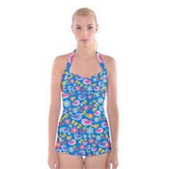 Spring pattern - blue Boyleg Halter Swimsuit