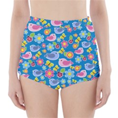 Spring pattern - blue High-Waisted Bikini Bottoms