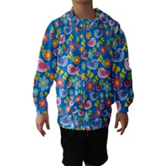 Spring pattern - blue Hooded Wind Breaker (Kids)