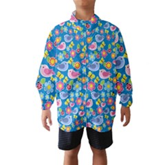 Spring pattern - blue Wind Breaker (Kids)