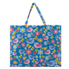 Spring pattern - blue Zipper Large Tote Bag