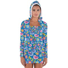 Spring pattern - blue Women s Long Sleeve Hooded T-shirt