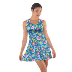 Spring pattern - blue Cotton Racerback Dress
