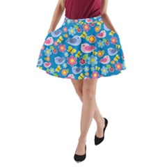 Spring pattern - blue A-Line Pocket Skirt