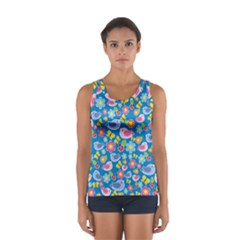 Spring pattern - blue Women s Sport Tank Top