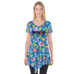 Spring pattern - blue Short Sleeve Tunic