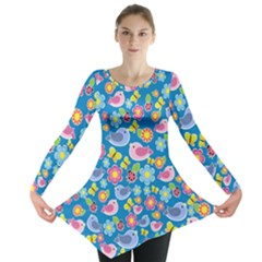 Spring pattern - blue Long Sleeve Tunic