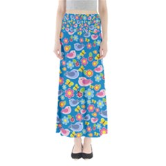 Spring pattern - blue Maxi Skirts