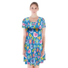 Spring pattern - blue Short Sleeve V-neck Flare Dress