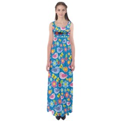 Spring pattern - blue Empire Waist Maxi Dress