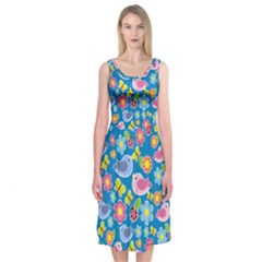 Spring pattern - blue Midi Sleeveless Dress