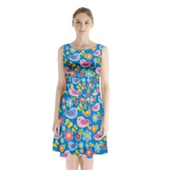 Spring pattern - blue Sleeveless Chiffon Waist Tie Dress