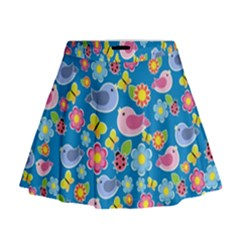 Spring pattern - blue Mini Flare Skirt