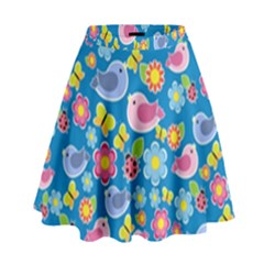 Spring pattern - blue High Waist Skirt