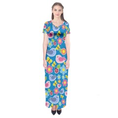 Spring pattern - blue Short Sleeve Maxi Dress
