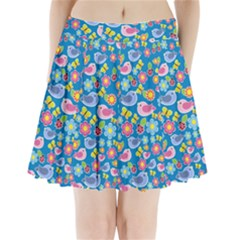 Spring pattern - blue Pleated Mini Skirt