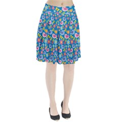 Spring pattern - blue Pleated Skirt