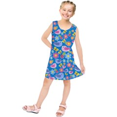 Spring pattern - blue Kids  Tunic Dress