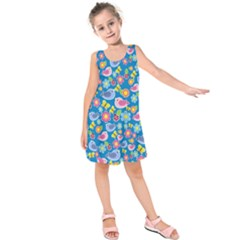 Spring pattern - blue Kids  Sleeveless Dress
