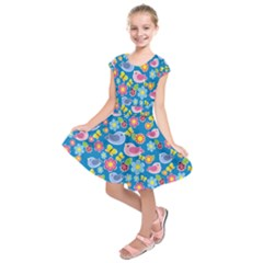 Spring pattern - blue Kids  Short Sleeve Dress