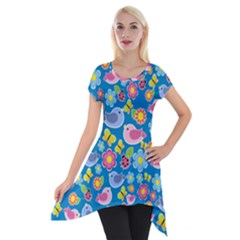 Spring pattern - blue Short Sleeve Side Drop Tunic