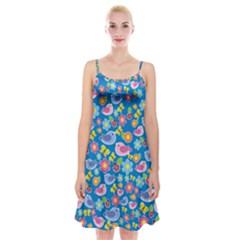 Spring pattern - blue Spaghetti Strap Velvet Dress