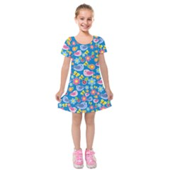 Spring pattern - blue Kids  Short Sleeve Velvet Dress