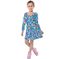 Spring pattern - blue Kids  Long Sleeve Velvet Dress
